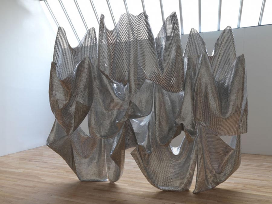 Plane Weave (2016)+metallic sculpture_flexible and translucent_respond to gravity, space, tension, weight and materiality